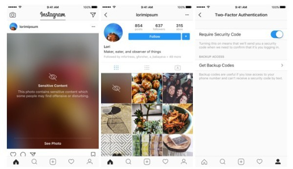Instagram: autenticazione in due passaggi e foto sensibili nascoste