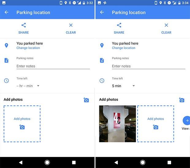 L'applicazione Google Maps ricorda il luogo del parcheggio