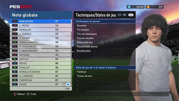 La riproduzione virtuale di Diego Armando Maradona nel videogame Pro Evolution Soccer 2017 di Konami
