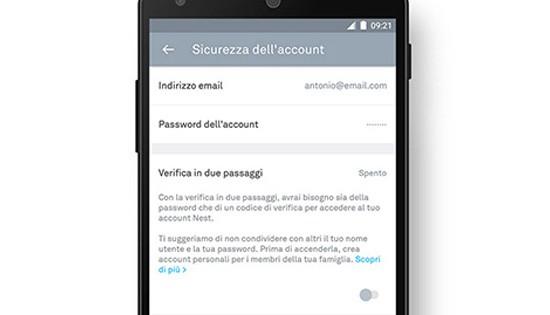 Come attivare la verifica in due passaggi nell'applicazione ufficiale di Nest
