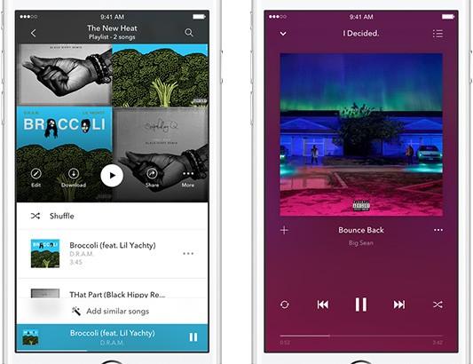 La nuova interfaccia dell'applicazione mobile di Pandora, introdotta con il lancio dell'abbonamento Premium