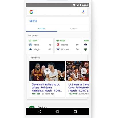 Le scorciatoie introdotte da Google sotto al box di ricerca sui dispositivi mobile permettono di accedere rapidamente a informazioni, funzionalità e aggiornamenti su qualsiasi tema, anche lo sport
