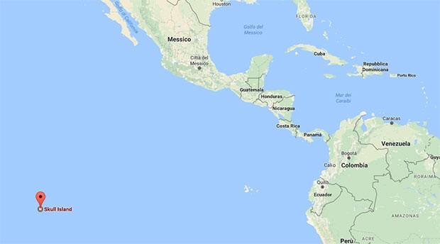 La posizione di Skull Island su Google Maps, al largo dell'Oceano Pacifico