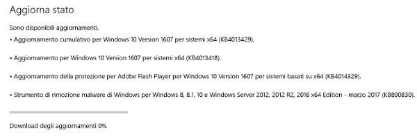 Microsoft, nuovo update cumulativo per Windows 10
