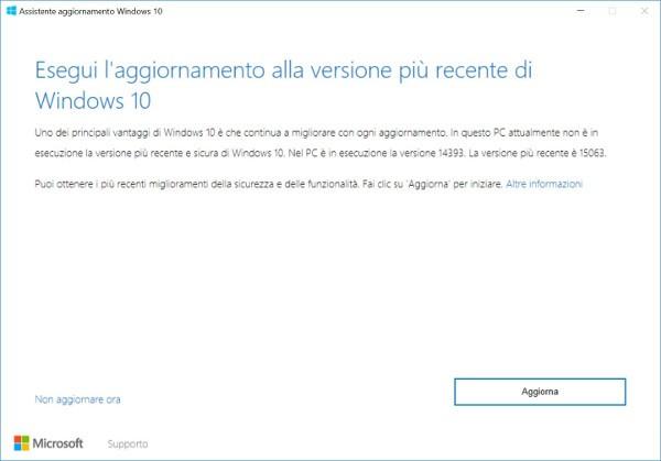 Aggiornamento a Windows 10 Creators Update