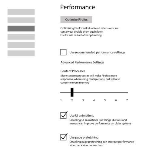 Firefox performance tab