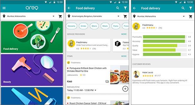 Screenshot per l'applicazione Areo di Google dedicata al food delivery, al momento un'esclusiva per l'India