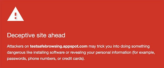 L'avviso mostrato da Chrome quando l'utente sta per visitare un sito potenzialmente in grado di mettere a rischio la privacy o i dati personali
