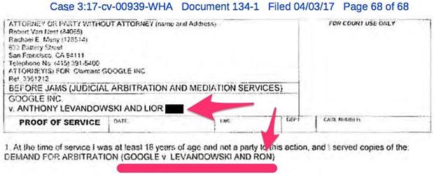 La documentazione che svela il coinvolgimento di Lior Ron nella causa legale intentata da Waymo (Google-Alphabet) nei confronti di Uber