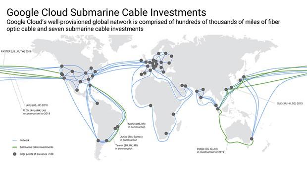 Tutti i cavi sottomarini per la comunicazione, a livello globale, sui quali Google ha fino ad oggi investito