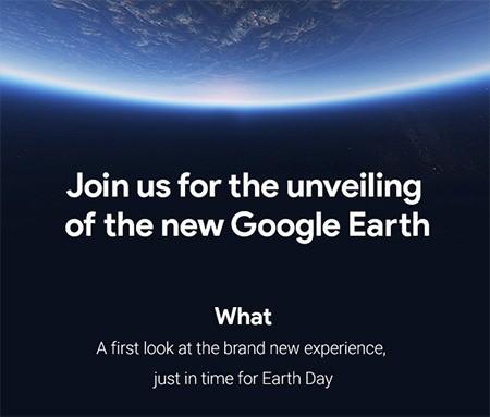 L'invito di Google alla stampa per la presentazione del nuovo Earth