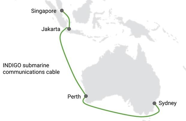 Il percorso del cavo sottomarino INDIGO per la comunicazione nel sudest asiatico