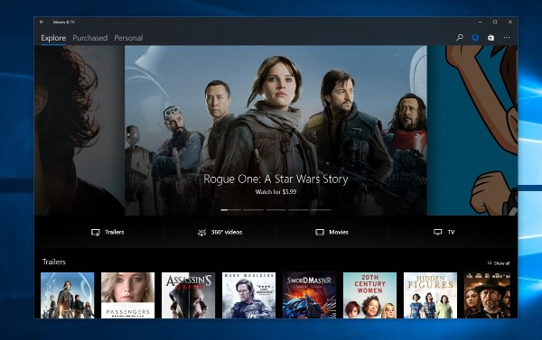 Windows 10, Project Neon su Film e TV