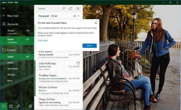 Windows 10, migliorata la compatibilità con Gmail