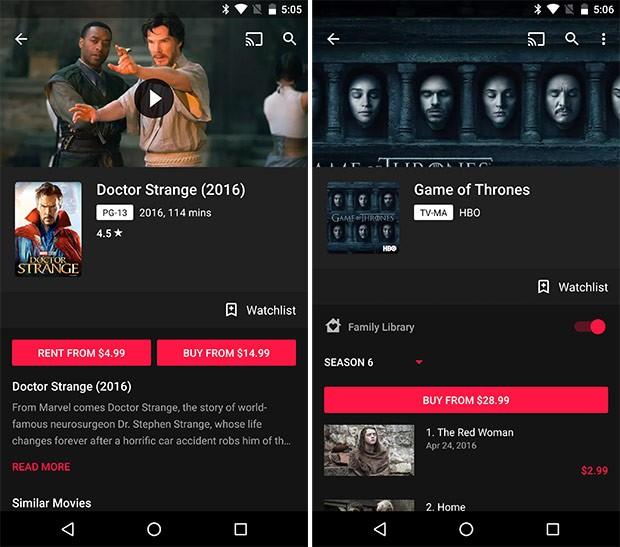 Gli screenshot che mostrano i piccoli ritocchi estetici introdotti da Google con l'aggiornamento alla versione 3.21 dell'applicazione Play Film