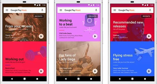 Screenshot per l'applicazione Google Play Musica dedicata allo streaming