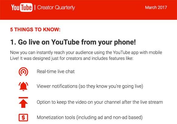 L'avviso mostrato da YouTube ai gestori dei canali prima di avviare uno streaming live dall'applicazione mobile
