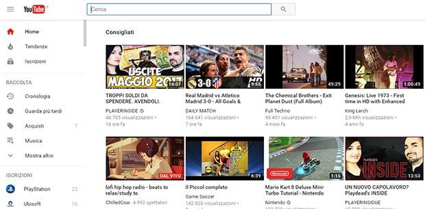 Il nuovo look di YouTube