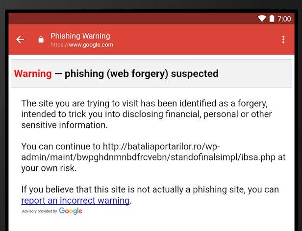 Gmail per Android - Phishing warning