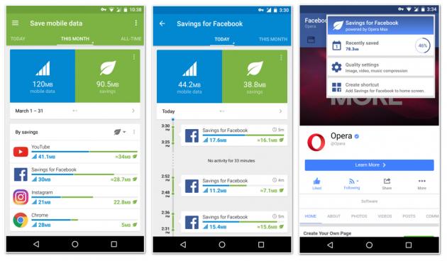Opera Max 3.0 - Facebook savings