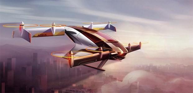Il concept di VTOL (veicolo a decollo verticale) sviluppato da Airbus, che secondo la compagnia potrà iniziare a offrire un servizio di trasporto pubblico autonomo e sicuro già nel 2020
