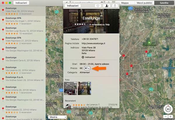 Apple Pay e Mappe