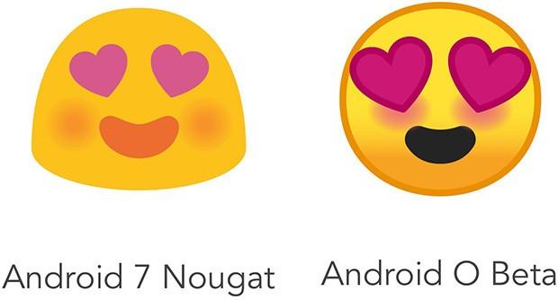 Lo stesso emoji rappresentato in Android Nougat (a sinistra) e in Android O (a destra)