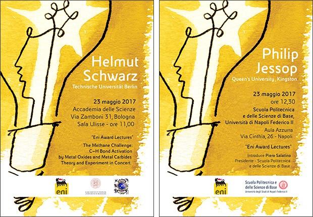 Le locandine delle Eni Award Lectures con gli interventi di Helmut Schwarz e Philip Jessop