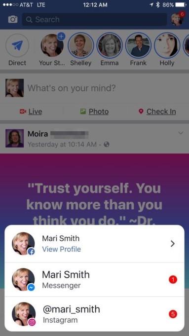 Facebook, Messenger ed Instagram: notifiche uniche