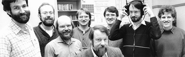 Il team del Fraunhofer Institute for Integrated Circuits al lavoro sul formato MP3 nel 1987