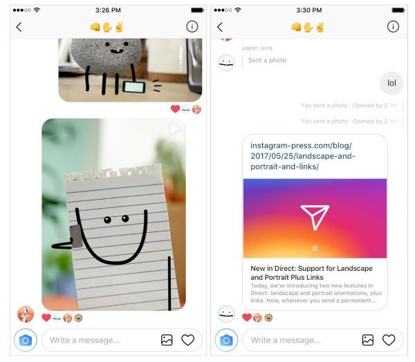Arriva il supporto ai link e alle fotografie orizzontali su Direct — Instagram