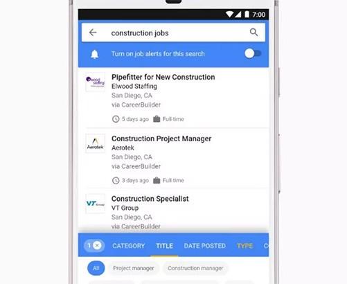 L'interfaccia di Google for Jobs, piattaforma che grazie al machine learning mette in contatto le aziende alla ricerca di lavoratori con i possibili migliori candidati