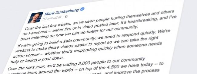 Il post di Mark Zuckerberg