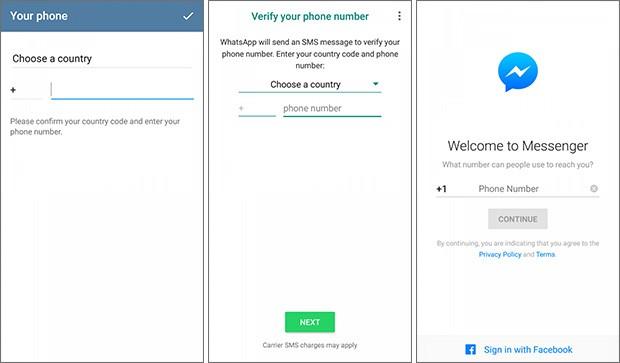 Il processo di autenticazione dell'utente via SMS nelle applicazioni Telegram, WhatsApp e Facebook Messenger