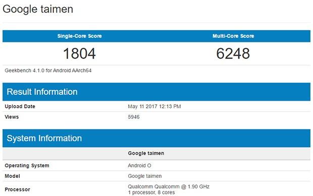 Il benchmark di Google Taimen, con tutta probabilità uno degli smartphone Pixel di seconda generazione, già equipaggiato con il sistema operativo Android O durante la fase di test