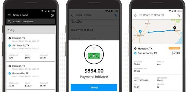 Screenshot per l'applicazione Android di Uber Freight