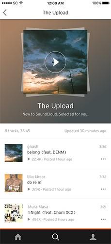 Un esempio di playlist The Upload, offerte dalla piattaforma di streaming SoundCloud per scoprire nuova musica
