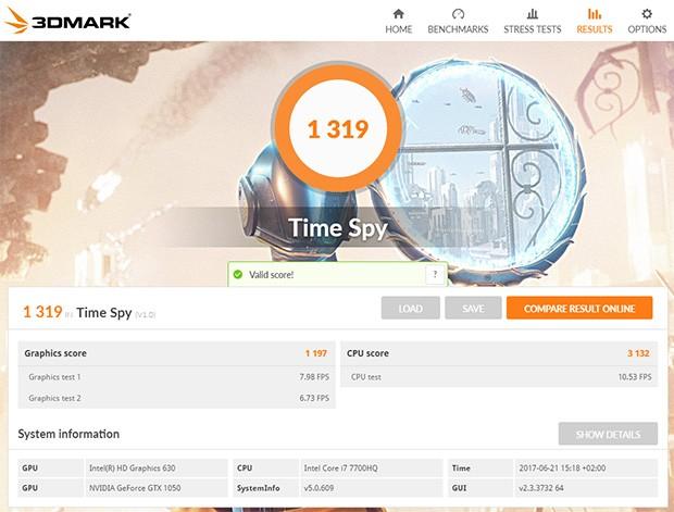 Il risultato del benchmark Time Spy di 3DMark