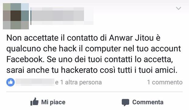 Questo il post che circola su Facebook e invita a non aggiungere Anwar Jitou all'elenco dei propri amici