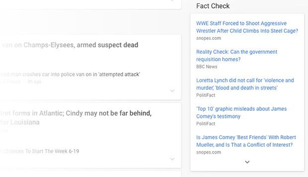 Il box Fact Check di Google News, al momento esclusiva per gli Stati Uniti