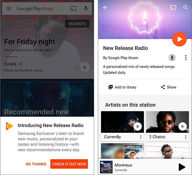 La playlist New Release Radio di Google Play Musica offerta in esclusiva ai possessori di Samsung Galaxy S8 e Galaxy S8+