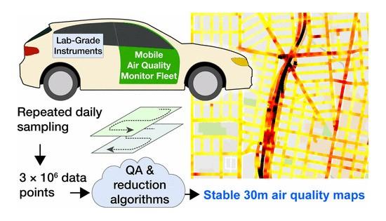 La mappa della città di Oakland disegnata dalle Google Car mediante la rilevazione delle sostanze inquinanti presenti nell'aria