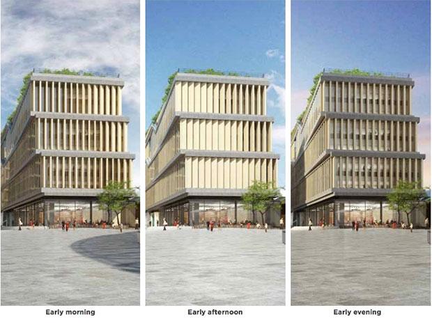 I pannelli posizionati intorno all'edificio si muoveranno per lasciar passare i raggi del sole e offrire un'illuminazione naturale dell'area