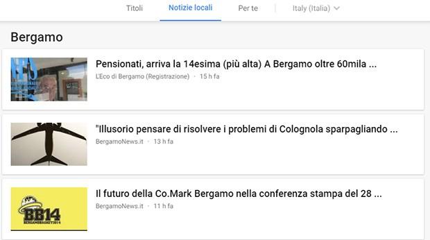 """La sezione """"Notizie locali"""" di Google News con i fatti più rilevanti accaduti nei dintorni dell'utente"""