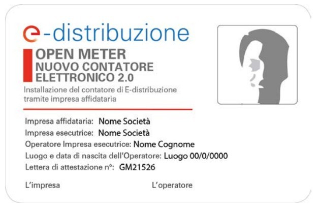 Open Meter: cartellino identificativo dell'operatore