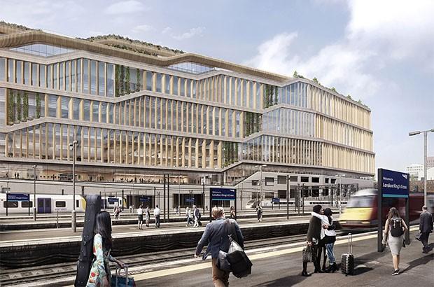 Render per il nuovo quartier generale di Google a Londra, nel quartiere nel quartiere King's Cross, progettato da BIG e Heatherwick Studio