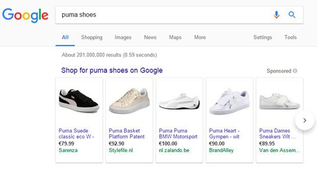 I risultati di una ricerca su Google relativa allo shopping online