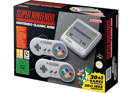 La confezione dello SNES Mini in versione europea