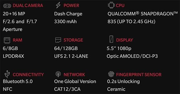 OnePlus 5: le specifiche tecniche dello smartphone