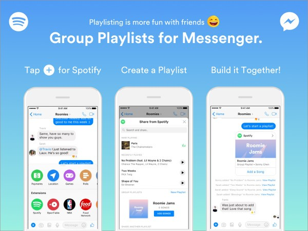 Spotify, playlist con gli amici di Messenger